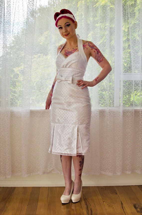 1950s Pin Up Wedding Dress Rosalia With A Wiggle Skirt Polka Dot Overlay Kick Pleat And Bow Belt
