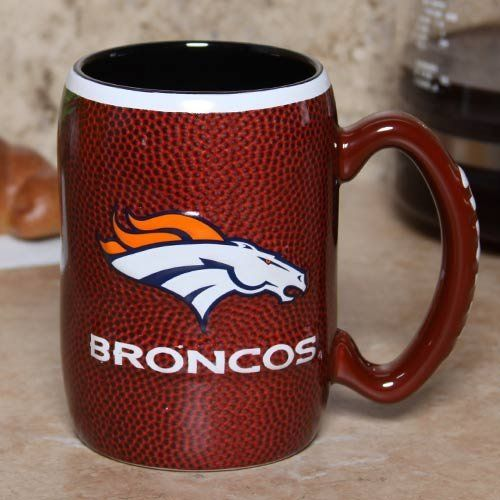Denver Broncos 16 Ounce Playing Field Sculpted Logo Relief Coffee Mug by Boelter Brands. $16.95. Features vibrant team colors and logos. 3-D sculpted relief logo. Holds approximately 16 ounces. Officially licensed. For the truly devoted fan, we are proud to present this officially licensed Denver Broncos coffee mug from Boelter Brands. Now you can brighten up your office or home with your favorite NFL team's colors and logo while you enjoy your favorite beverage. The...
