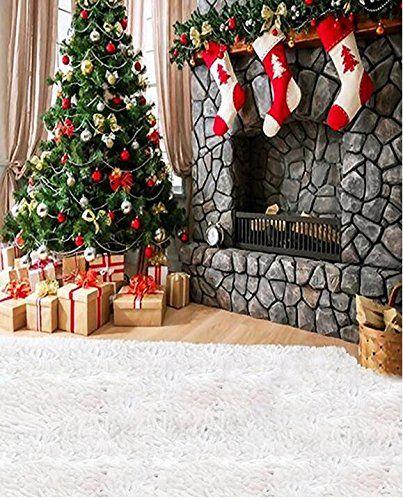 Mohoo 7X5ft Fotografie Hintergrund Weihnachten Kamin Foto Backdrops Thema Fotografie Hintergrund Requisiten f�r Studio (Seide Material)