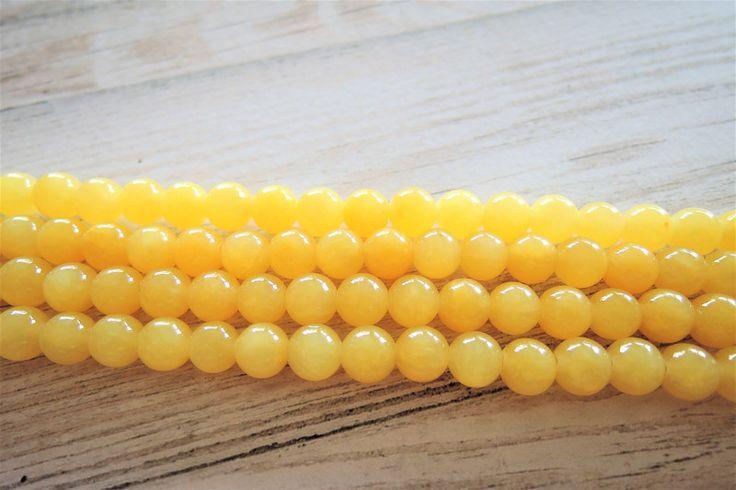 Lavakralen & -stenen - Gele Kralen Levendige Gele Jade Sieraden maken - Een uniek product van francois2017 op DaWanda