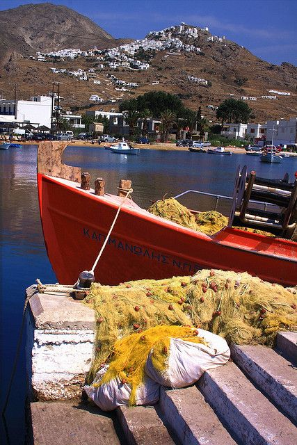 Fishing boat and Chora, Serifos island, Greece