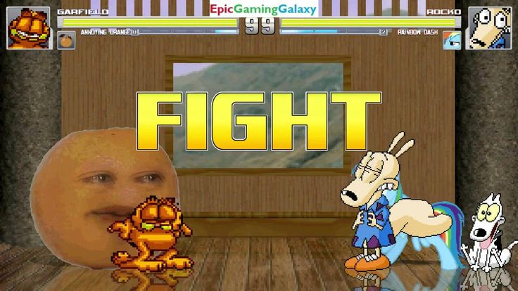 The Annoying Orange And Garfield The Cat VS Rocko And Rainbow Dash In A MUGEN Match / Battle / Fight This video showcases Gameplay of The Annoying Orange And Garfield The Cat From The Garfield And Friends Series VS Rocko From The Rocko's Modern Life Series And Rainbow Dash From The My Little Pony Friendship Is Magic Series In A MUGEN Match / Battle / Fight