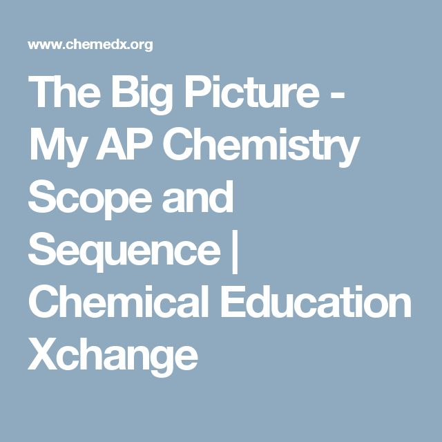 The Big Picture - My AP Chemistry Scope and Sequence | Chemical Education Xchange