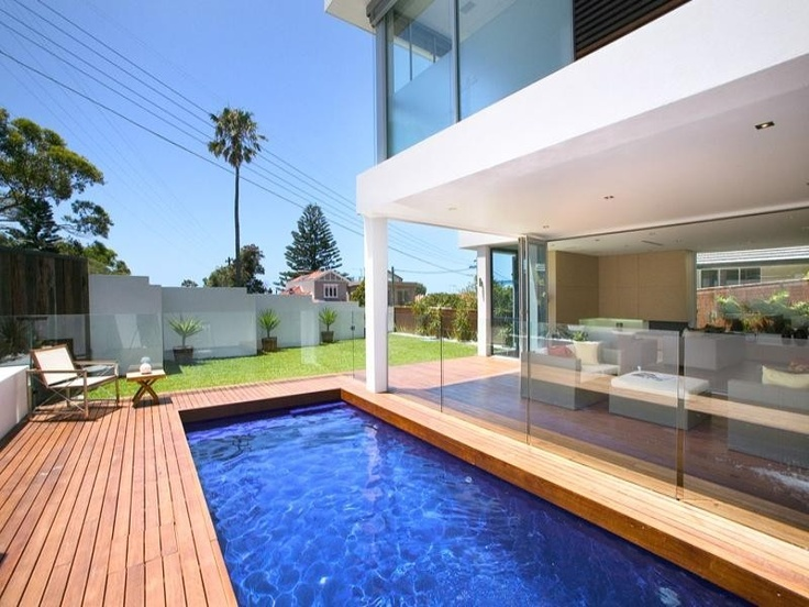 decked, modern garden, swimming pool landscapes landscape - homehound.com.au