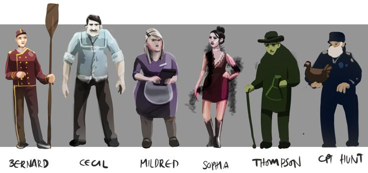 Original concept artwork for the characters in The Fitzroy.