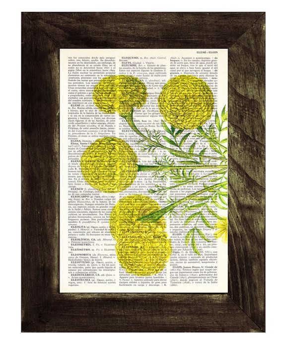 Book print Tagetes or African marigold flower Botanical by PRRINT