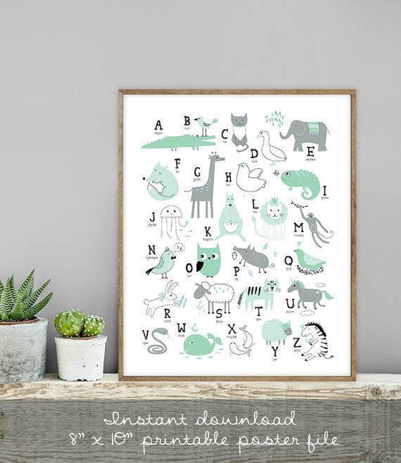 alfabet teken Mint / kunst aan de muur afdrukken DIY / brieven, dierlijke alfabet poster / moderne kinderkamer, mint kwekerij teken ▷ digitale afdrukbaar teken