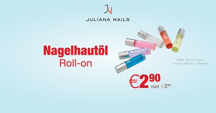 Special Offer in KW 39: NAGELHAUTÖL ROLL-ON UM € 2,90 STATT € 3,90 (Das Angebot ist ausschließlich für Kundekartenbesitzer vom 26.09.2016 bis einschließlich 01.10.2016 gültig) http://www.juliana-nails.com/de/produkte/lacke/nagelhautoel/nagelhautoel-roll-on/product/725-nagelhautoel-roll-on
