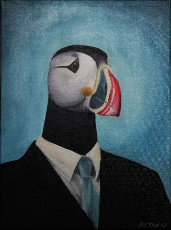 Mr. Puffin - Icelandic Bird acrylic painting on canvas