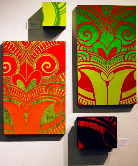 Tiki Art - Spray Paint on Wood.  Tiki Modern Maori at Howl Gallery