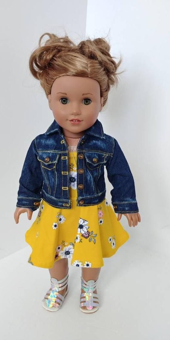 Handmade Distressed Denim Jean Jacket Fits 18 Inch Dolls Topstitching Detail Doll Clothes American Girl American Doll Clothes American Girl Doll Accessories