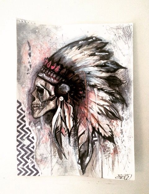 Indian skull painting watered down acrylic and pen- by Emily Willmott
