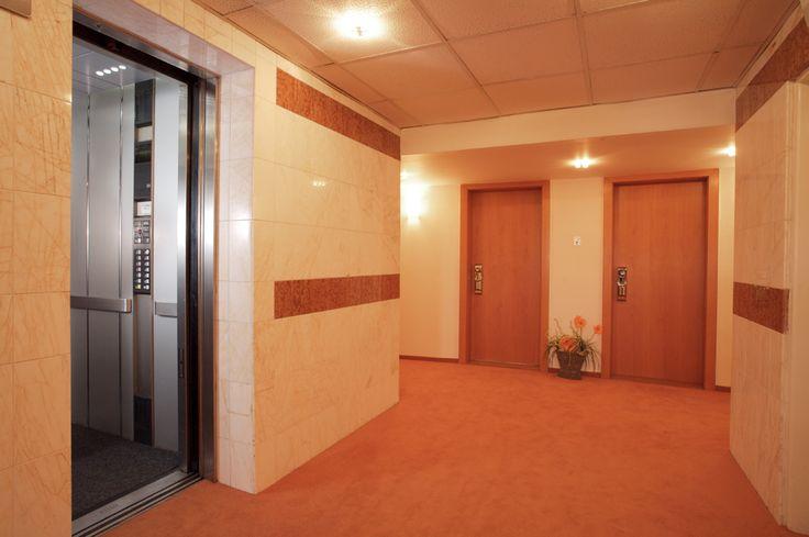 Chodba z výtahu. Do 9.tého patra se dostanete pouze s bezpečnostním klíčem. Tudíž soukromí je zaručeno.