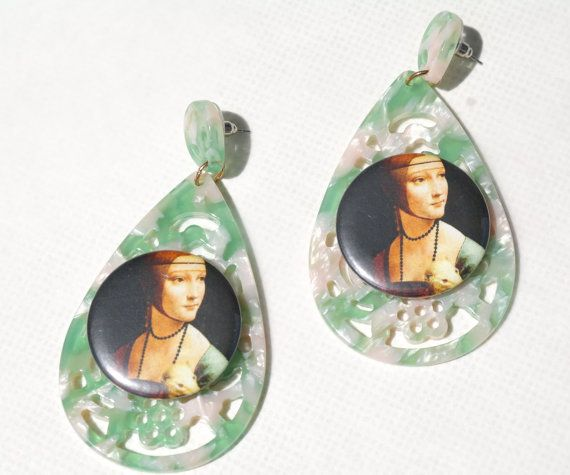Lady with an Ermine cameo earrings renaissance by crizartshop