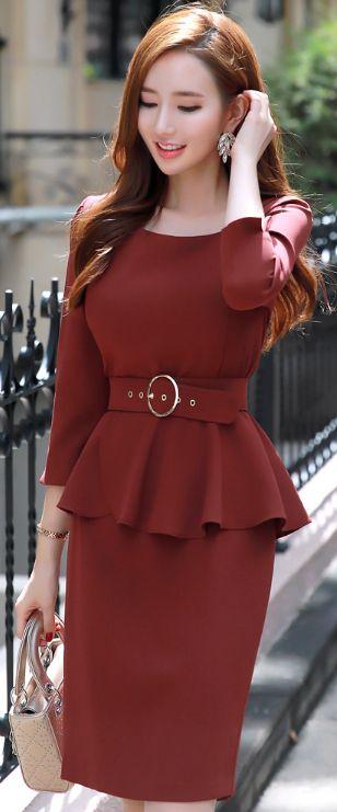 StyleOnme_Squared Neckline Peplum Belted Dress #dress #falltrend #koreanfashion #kstyle #kfashion #feminine #datelook