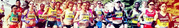 University of Iowa's Diane Nukuri-Johnson (behind Perez) in this photo finished 8th in the 2013 Boston Marathon.