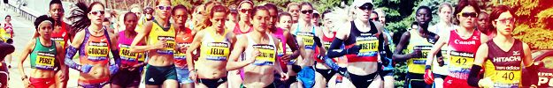 University of Iowa's Diane Nukuri-Johnson (behind Perez) in this photo finished 8th in the 2013 Boston Marathon.