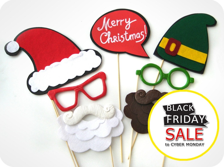 Super Christmas Photobooth Set on sticks - Perfect Holiday Photo Booth Props set of 7 from Mister Mustache