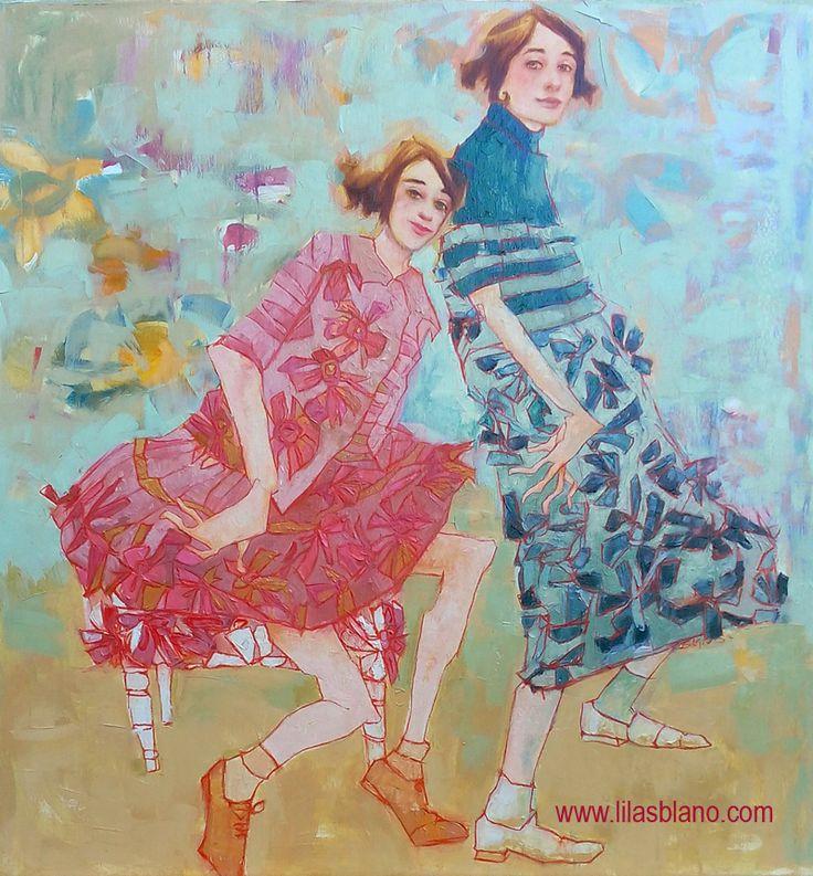 Quand la musique s'arrête Aneth se jette sur la tabourette     100 x 95 cm By Lilas Blano