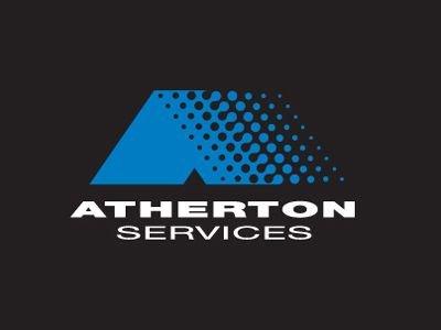Rodney Pike Design. Corporate Identity: Atherton Services Client: Atherton Services (Corporate Building Cleaning) Project Included: Logo design and stationery