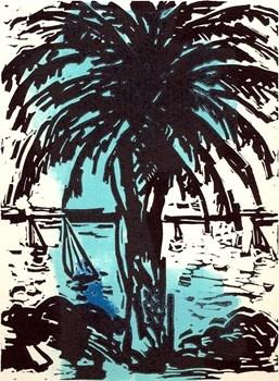 Bayside Palm - Craig Gough Linocut with Colour Roll up 2013  15 x 20 cm $350.00 Available at www.cascadeprintroom.com.au