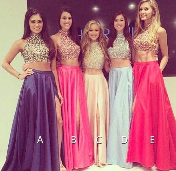 Pastel Light Royal Blue Pink Crop Top 2 Pieces High Neck Taffeta Beaded Long Prom Dress 2015