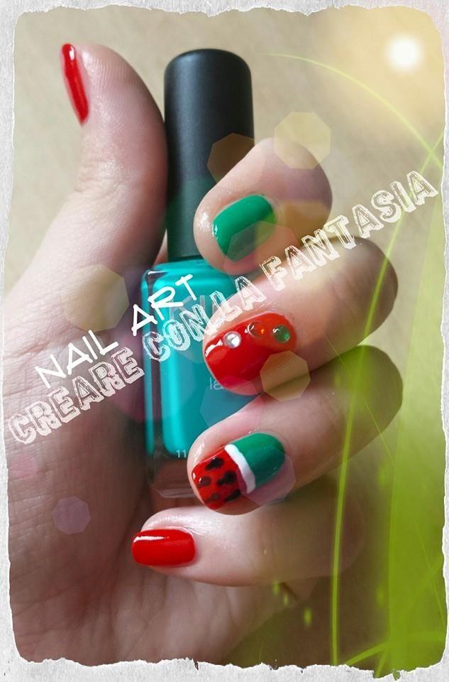 Anguria #nailart #smalto #unghie #nails #estate #anguria #strass