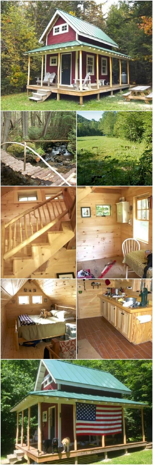 Perfection in this tiny house and its environment, designed and built by CountryPlans user rich2Vermont. 10x16 loft cabin, includes a loft bedroom, kitchenette, dining area.   Tiny Homes