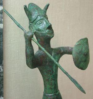 A Bronze Age warrior from the sanctuary of the Ingot God at Enkomi, Cyprus dated about 1200 BC.
