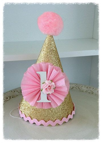 Gold Shabby Chic Happy Birthday Party Hat for Birthday by JeanKnee