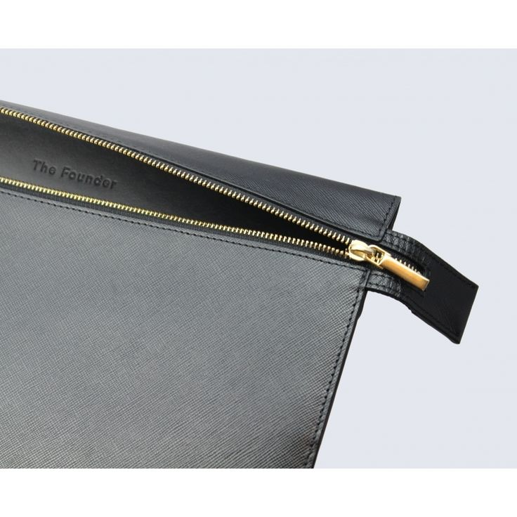 Large black leather clutch - Accessories