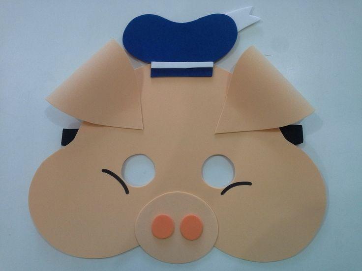 mascara 3 porquinhoa em eva, com elastico, tamanho unico, pedido minimo 5 peças.