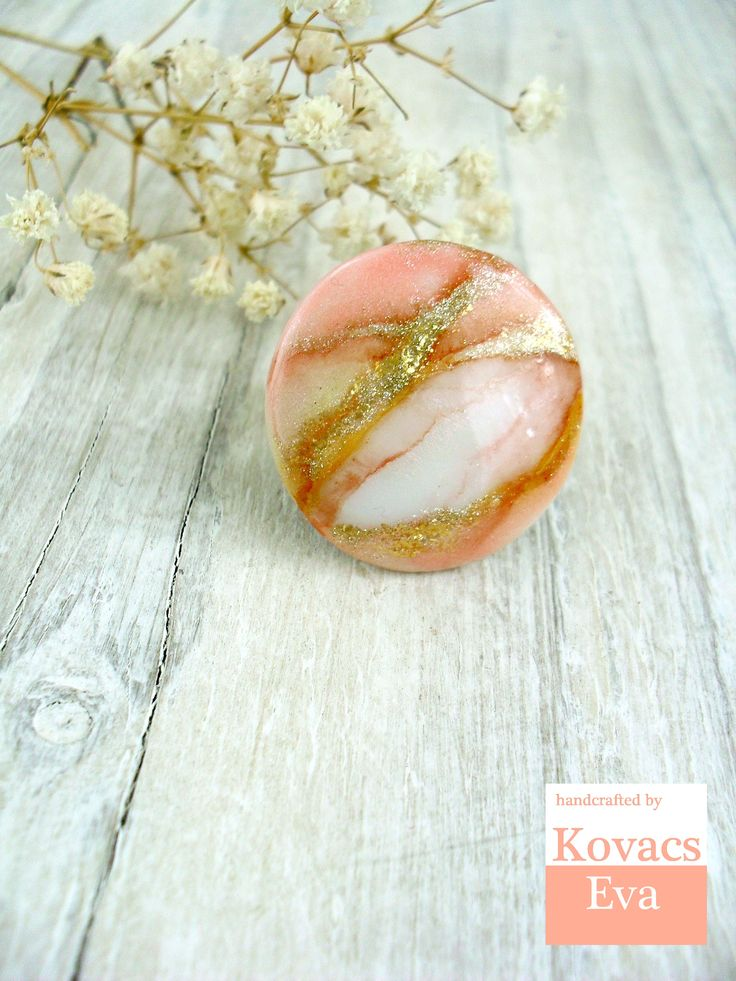 Peach and gold statement ring.Marble ring.White peach ring.Coral ring.