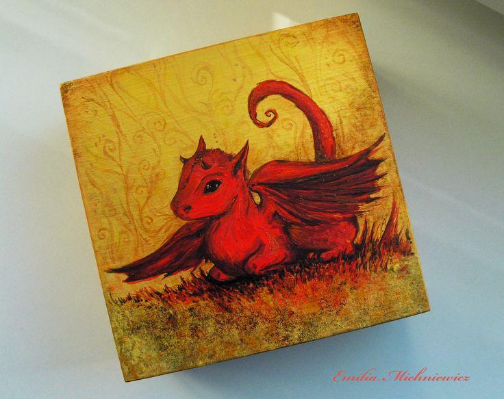Hand painted wodden box - Little Red Dragon www.facebook.com/EMsilverART