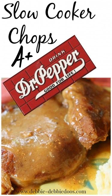 Slow cooker chops Dr. Pepper. #debbiedoos.  Now you know what to make for dinner tonight!