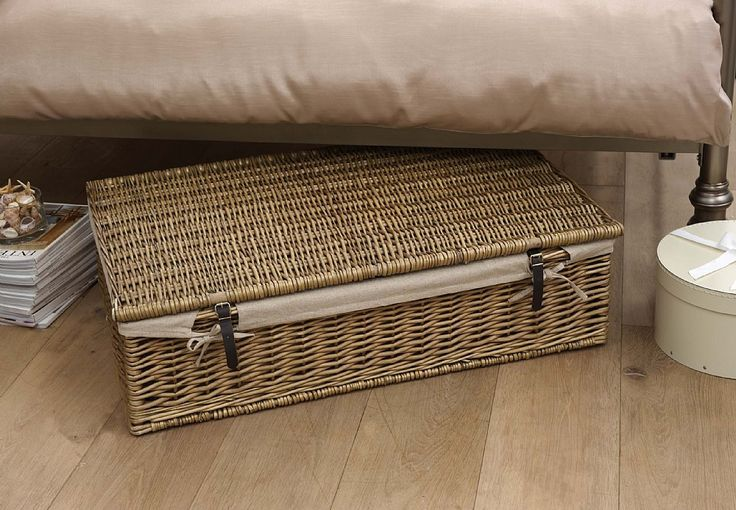 A lovely willow storage trunk with removable calico liner; perfect for utilising wasted underbed storage space.