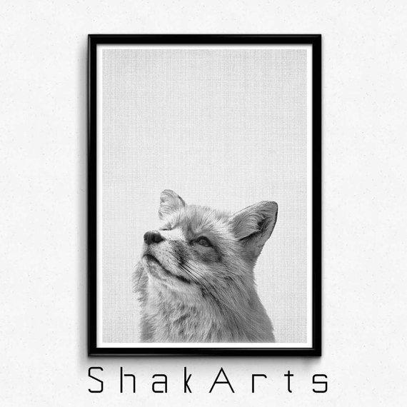 Fox Print Woodlands Nursery Wilderness Fox Wall Art by ShakArts
