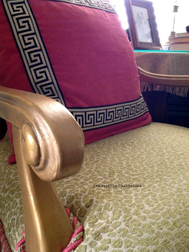 Gold painted furniture Reupholstering a French armchair