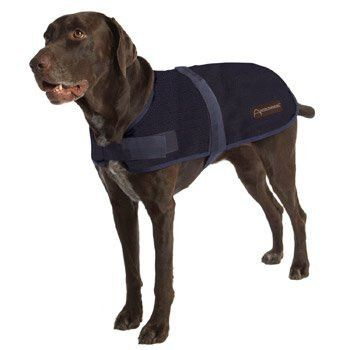 "ABO Gear Breathable/Waterproof Dog Coat, Navy Blue, Medium (16-18"")"