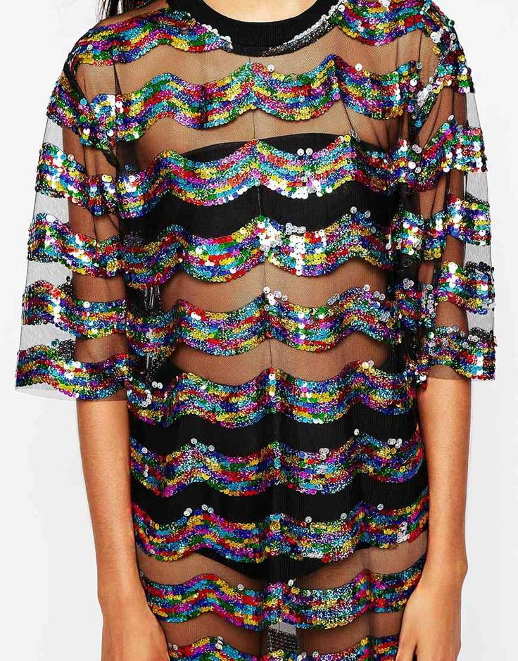 Image 3 -Story Of Lola Festival Big Tee Sequin Dress In Sheer Fabric