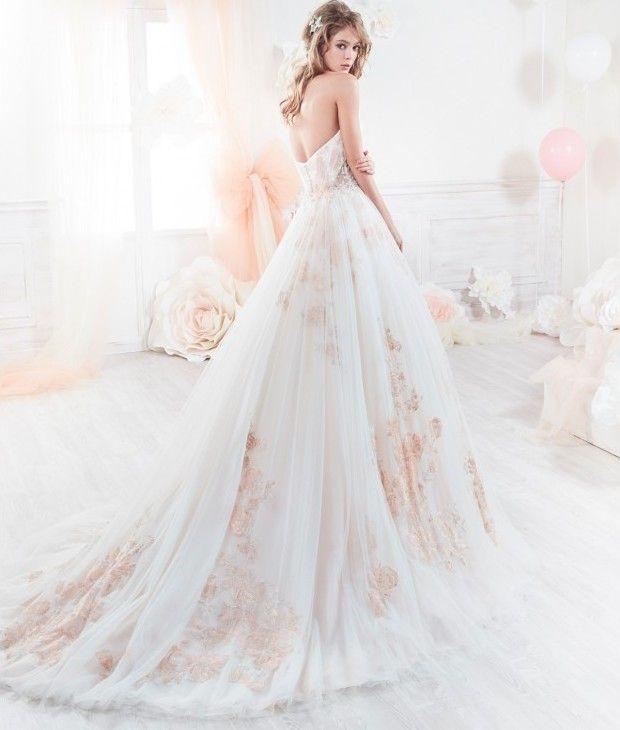 vestido de novia, modelo18244 de colete. romántico escote palabra de