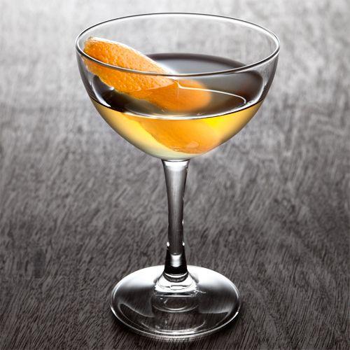 Between The Sheets: 1 oz Cognac 1 oz Triple sec 1 oz Light rum .25 oz Fresh lemon juice Garnish: Flamed orange peel Glass: Cocktail