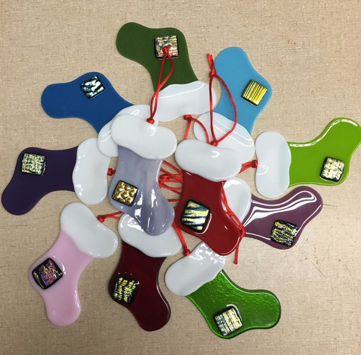 Fused Glass Stocking Ornaments - Hand Made by BFisherCreations on Etsy