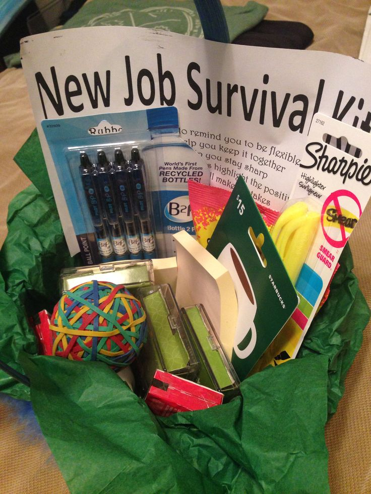 Best 25 new job gift ideas on pinterest new job party fun new job survival basket negle Images
