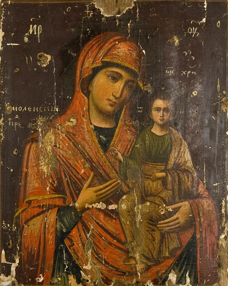 Mother of God of Smolensk Russian Antique Icon