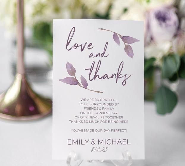 Thank You Table Card Template (Flat) | Boho Vines (Dusty Purple) 4 x 6