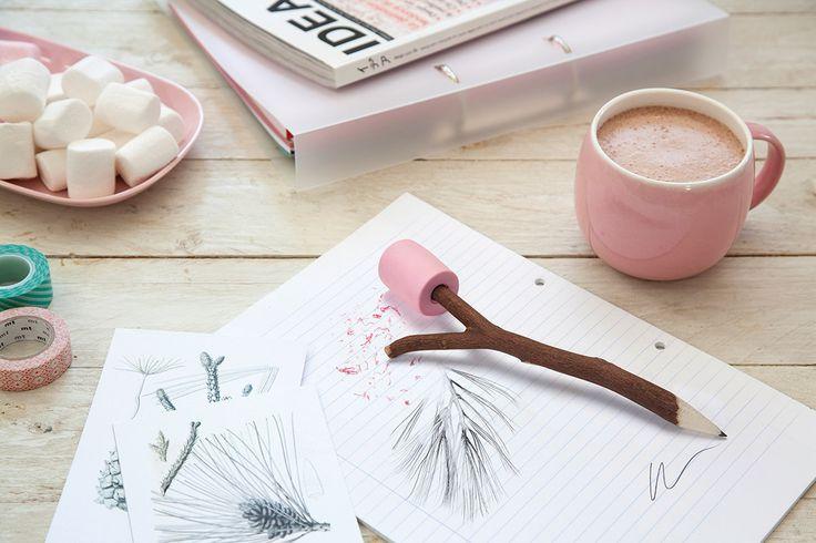Marshmallow Pencil & Eraser - from Vunk #stationary #pencil #artist #art #marshmallow