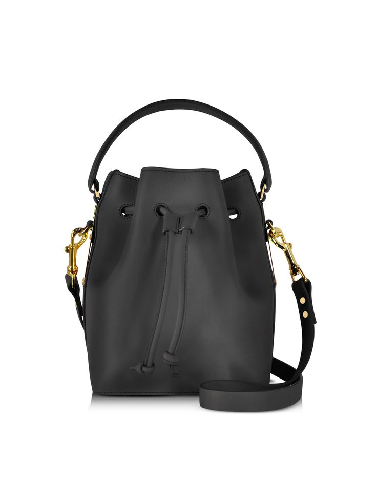 Sophie Hulme Black Small Drawstring Bucket bag at FORZIERI