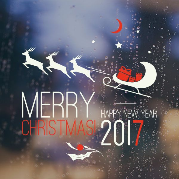 2017 Happy New Year and Merry Christmas Sticker