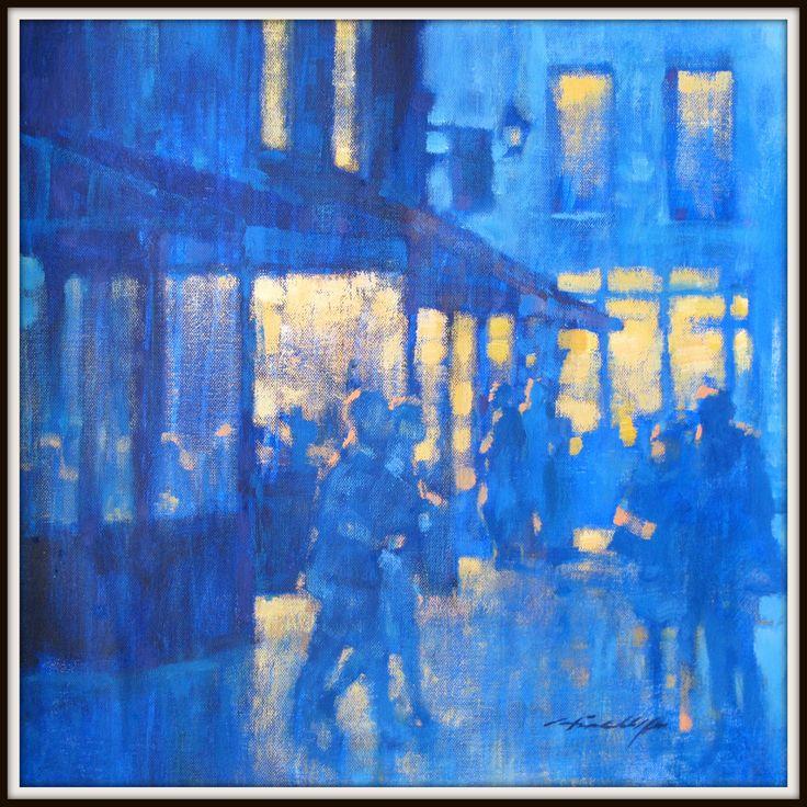 Night-time in Le Marais, Paris.  Oil on canvas.